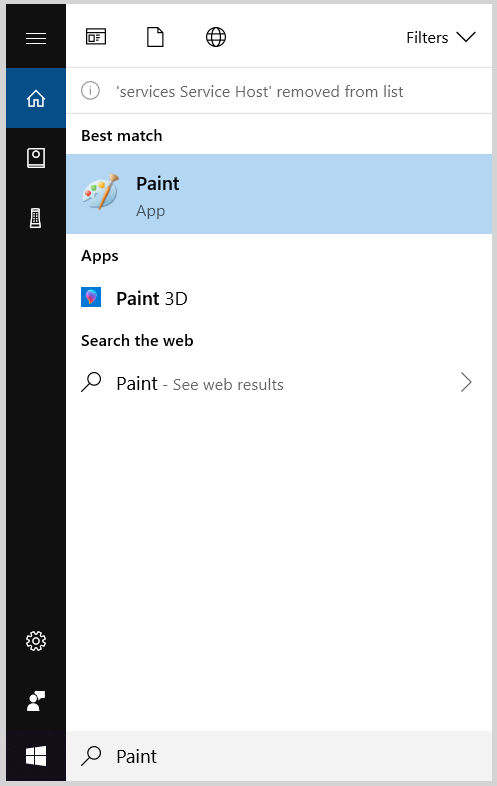 MS Paint - Windows Bar