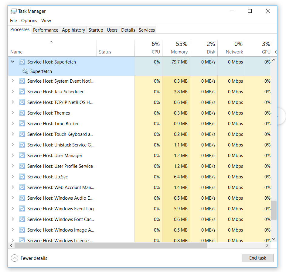 Task Manager - SuperFetch